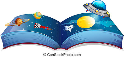Illustration of a book with an image of a spaceship and planets on a white background