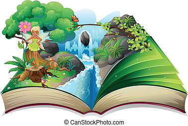 A book with an image of nature with a fairy - Illustration...