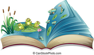 A book with an image of the frogs and fishes in the pond