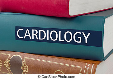 A book with the title Cardiology written on the spine