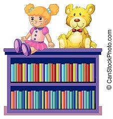 A bookshelf on white background
