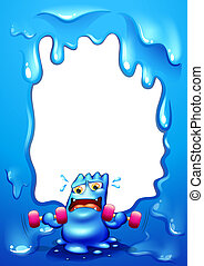 A border design with a blue monster exercising