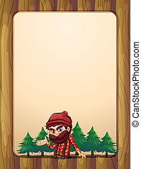 A border design with a lumberjack - Illustration of a border...