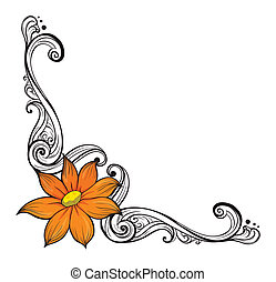 A border with an orange flower - Illustration of a border ...