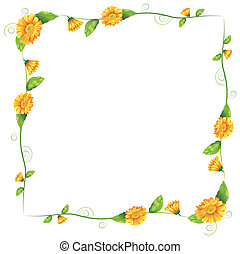 Illustration of a border with orange flowers on a white background