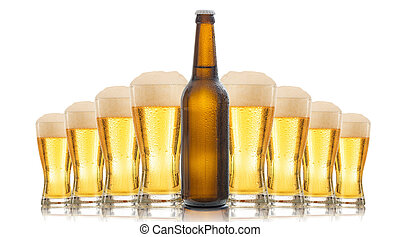 A bottle and glasses of beer isolated on white background