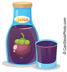 A bottle of eggplant juice