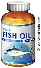 A bottle of fish oil capsules