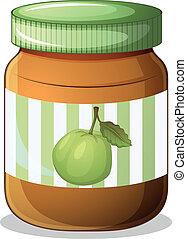 A bottle of guava jam - Illustration of a bottle of guava...
