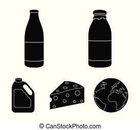 A bottle of kefir, a can, a piece of cheese. Moloko set...