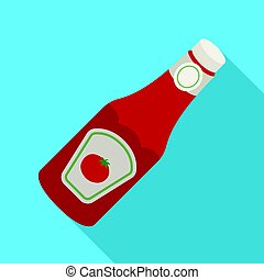 A bottle of ketchup.BBQ single icon in flat style vector symbol stock illustration web.