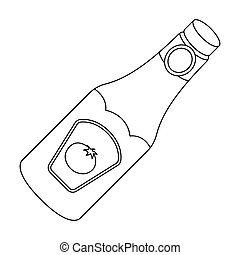A bottle of ketchup.BBQ single icon in outline style vector symbol stock illustration web.