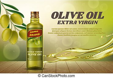 A bottle of olive oil on bokeh background. Vector flyer