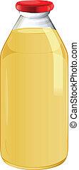Illustration of a bottle of orange juice on a white background