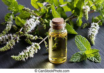 A bottle of peppermint essential oil with blooming peppermint twigs in the background