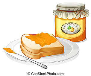 A bottle of pineapple jam and a sandwich in a plate -...