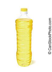 A bottle of sunflower oil. - A bottle of vegetable oil is on...