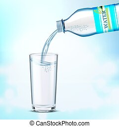 A bottle of water on a blue background.
