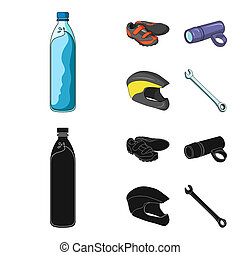 A bottle of water, sneakers, a flashlight for a bicycle, a protective helmet. Cyclist outfit set collection icons in cartoon, black style bitmap symbol stock illustration web.