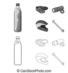 A bottle of water, sneakers, a flashlight for a bicycle, a protective helmet. Cyclist outfit set collection icons in outline, monochrome style bitmap symbol stock illustration web.