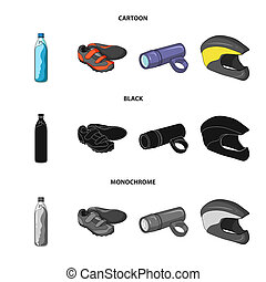A bottle of water, sneakers, a flashlight for a bicycle, a protective helmet. Cyclist outfit set collection icons in cartoon, black, monochrome style bitmap symbol stock illustration web.