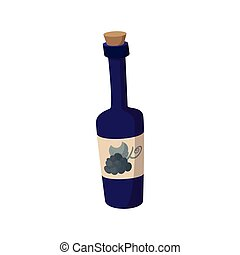 A bottle of wine icon, cartoon style