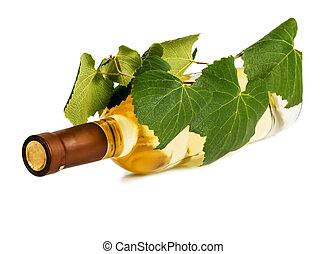a bottle of wine with a vine