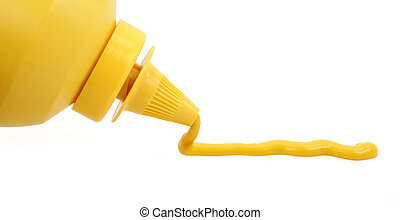 a bottle of yellow mustard with white background