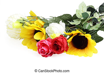 A bouquet of beautiful flowers, isolated on the white background