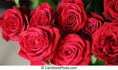 A bouquet of beautiful red roses.