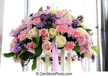 bouquet of colorful real flowers decoration