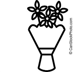 a bouquet of daisies icon vector. A thin line sign. Isolated contour symbol illustration