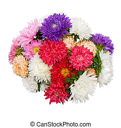 A bouquet of flowers on a white bac