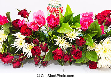 A bouquet of roses on white background
