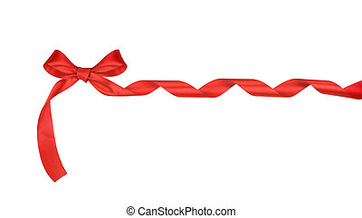 a bow of red ribbon isolated on white background
