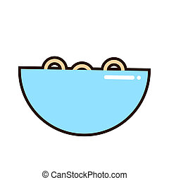 A bowl of cereal and milk on white background. Corn flakes. illustration.