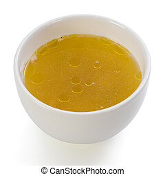 A bowl of clear chicken broth on a white background