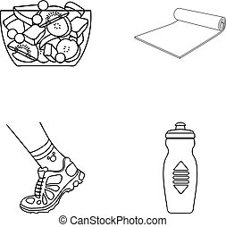 A bowl of fruit salad, a mat, a sneaker on the leg, a bottle of water.Fitness set collection icons in outline style vector symbol stock illustration web.