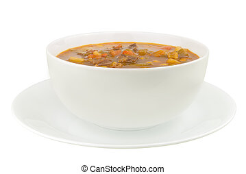 A bowl of vegetable beef soup isolated on a white background