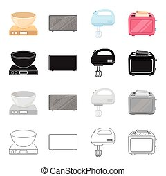 A bowl on the scales, a plasma TV, a household mixer, a toaster. Household appliance set collection icons in cartoon black monochrome outline style vector symbol stock illustration web.