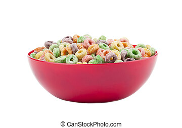 Close-up image of a red bowl with colorful breakfast cereals isolated on a white background
