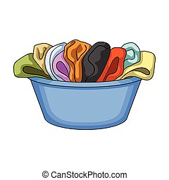 A bowl with dirty laundry. Dry cleanin single icon in cartoon style vector symbol stock illustration web.