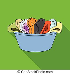 A bowl with dirty laundry. Dry cleanin single icon in flat style vector symbol stock illustration web.