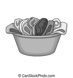 A bowl with dirty laundry. Dry cleanin single icon in outline style vector symbol stock illustration web.