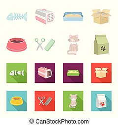 A bowl with food, a haircut for a cat, a sick cat, a package of feeds. at set collection icons in cartoon,flat style vector symbol stock illustration web.