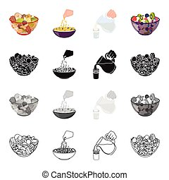 A bowl with various kinds of nuts, food fruit salad. pasta, jug and a glass of milk. Fruit and dessert set collection icons in cartoon black monochrome outline style vector symbol stock illustration isometric web.