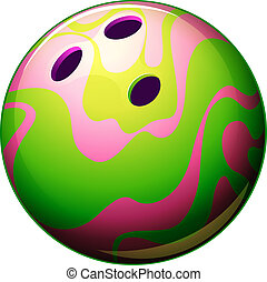 A bowling ball - Illustration of a bowling ball on a white...