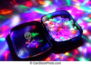 A box filled with ecstasy under disco lights. - The dealer...