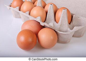 A box of chicken eggs. Closeup