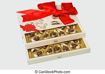 A box of chocolates on a white background.